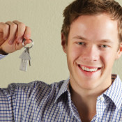 Young man with house keys