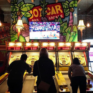 Skeeball at Boxcar Bar and Arcade